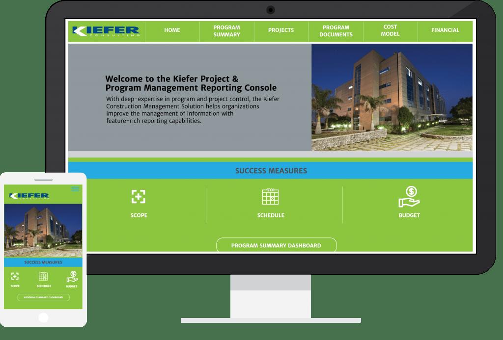 Image of a mock-up Kiefer built Program and Project control portal