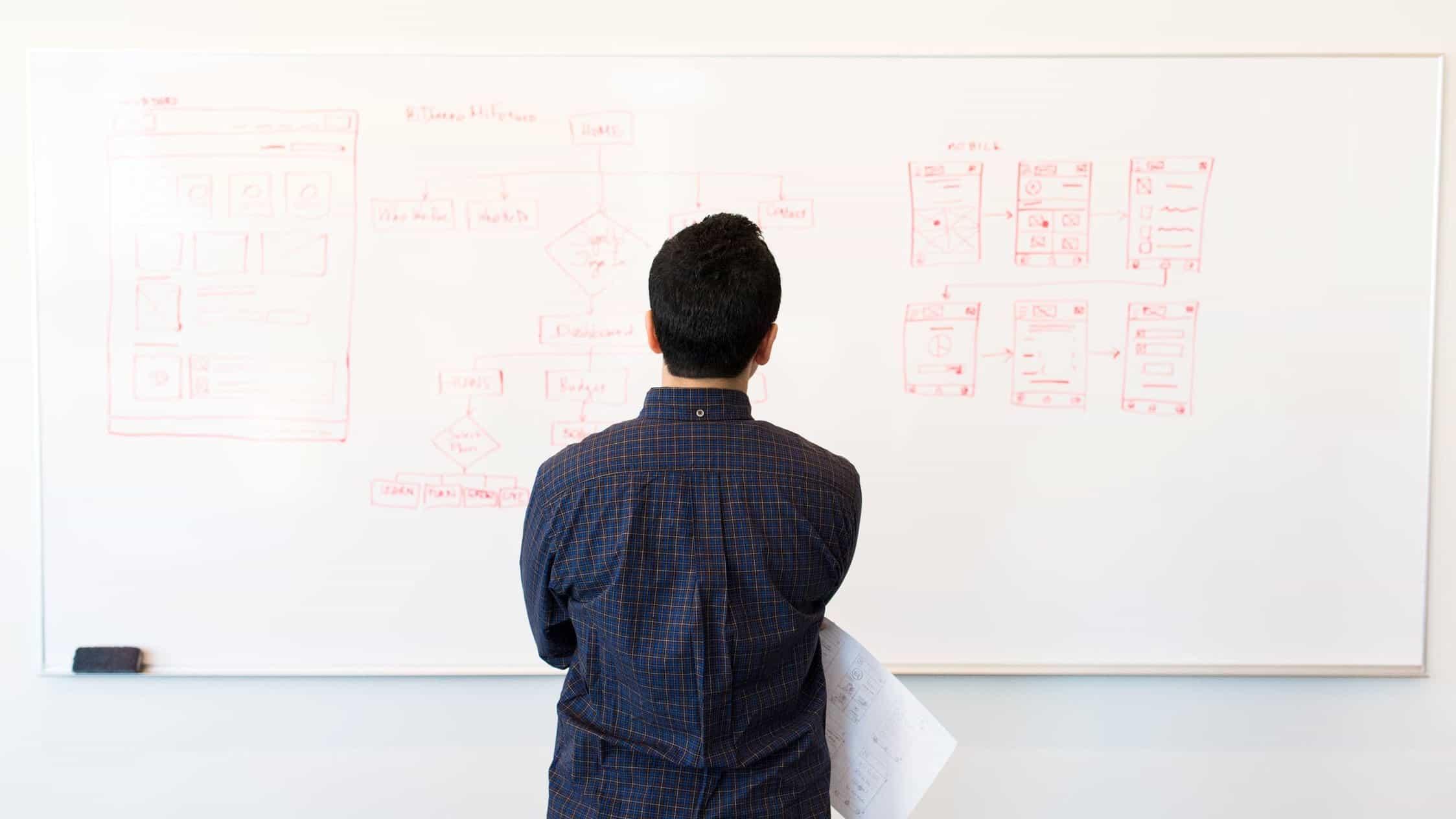 Man looking at whiteboard