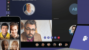 Screenshots of Microsoft Teams on a desktop and mobile device
