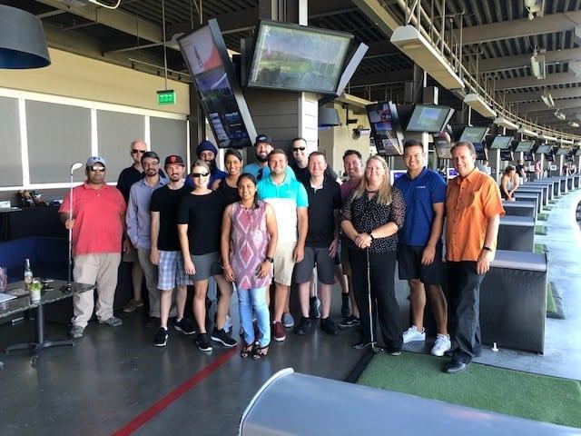Kiefer team at an employee event at Top Golf (Summer 2019)