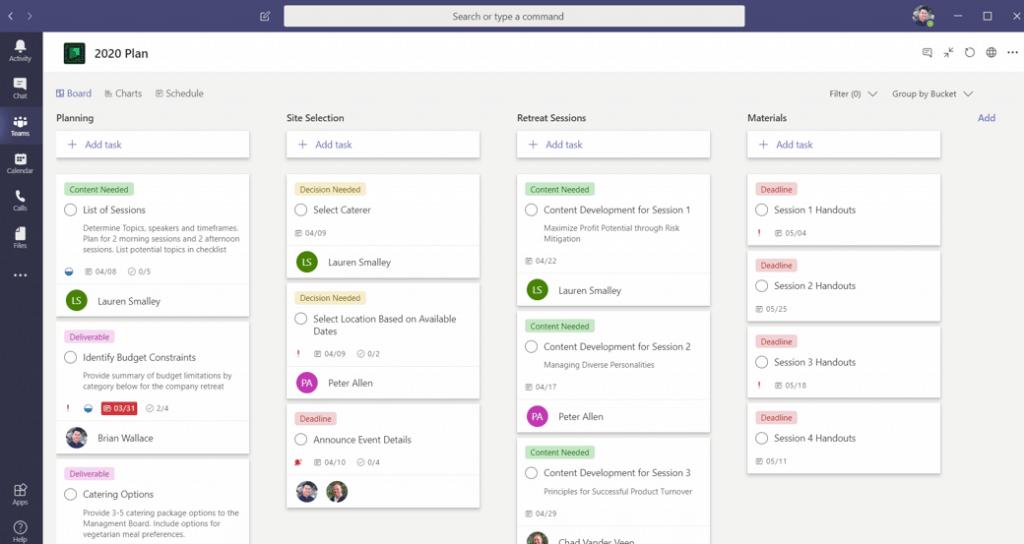 Screenshot of Microsoft Planner