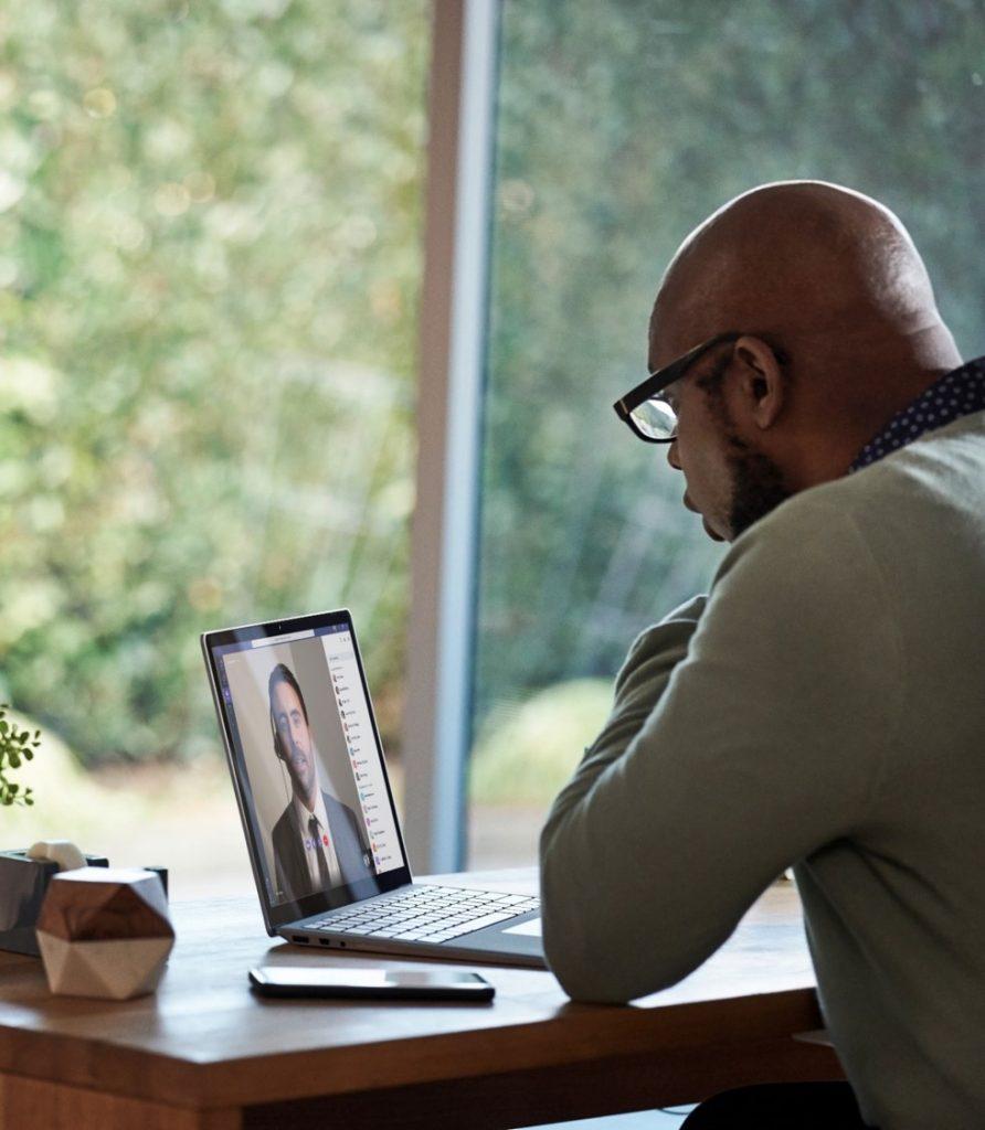 Man on a call using Microsoft Teams