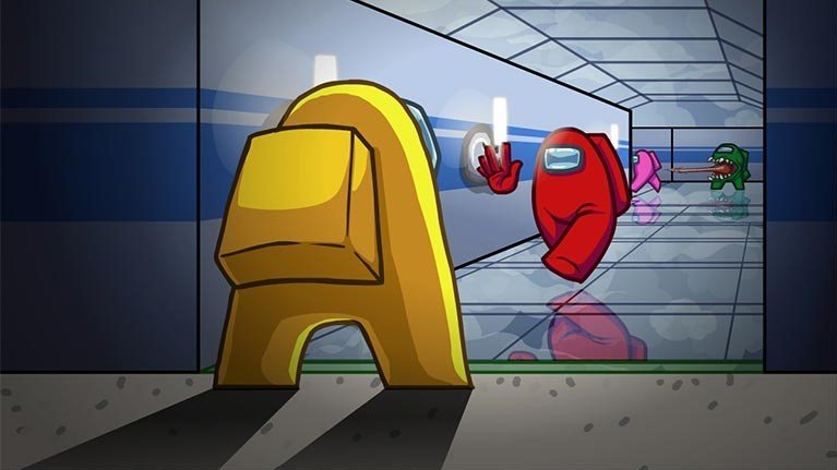 Image of Among Us game and two characters encountering one another.