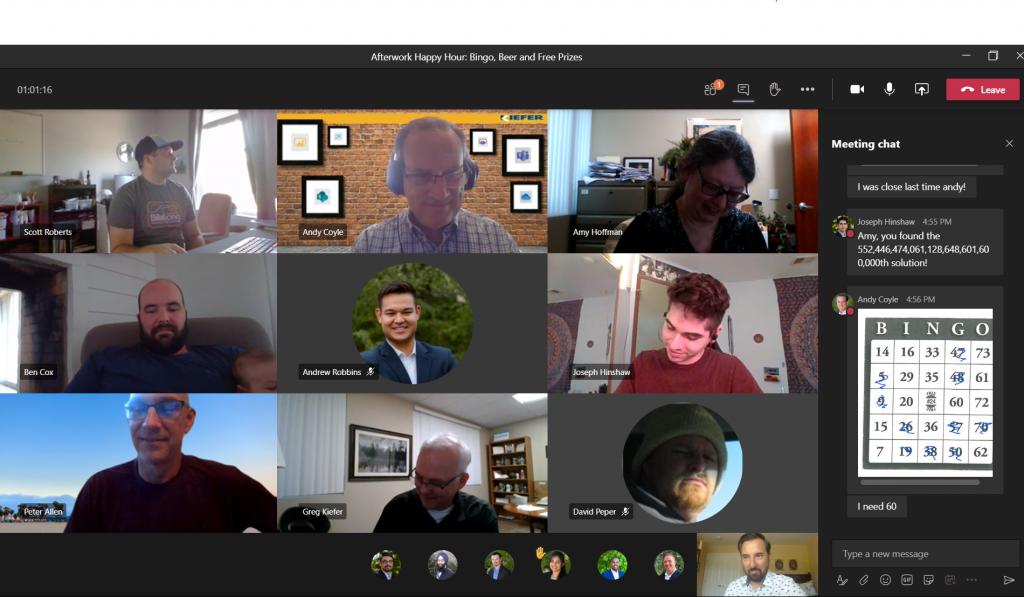 Image of Kiefer's team playing Bingo online using Microsoft Teams
